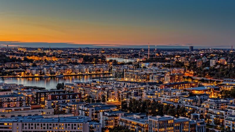 Autumn Sunset Stockholm arkivfoto