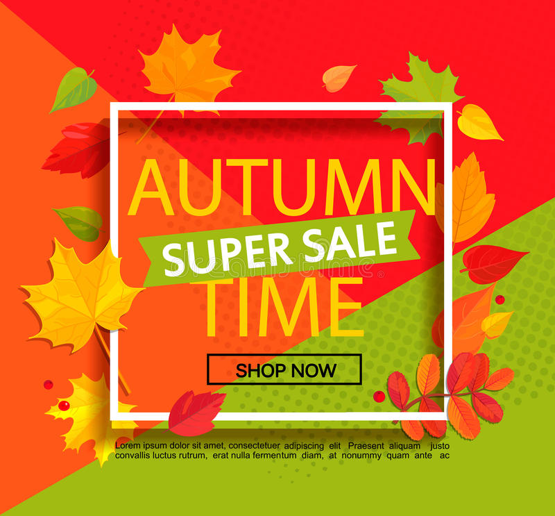 Autumn Super Sale Banner stock de ilustración