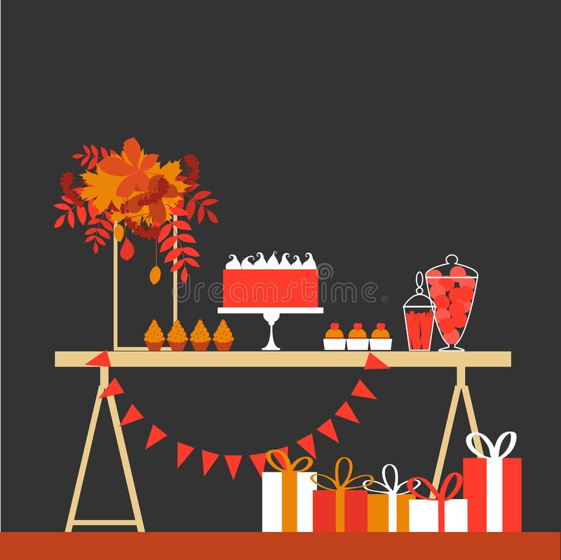 Autumn sweet table. Wedding candy buffet. vector illustration