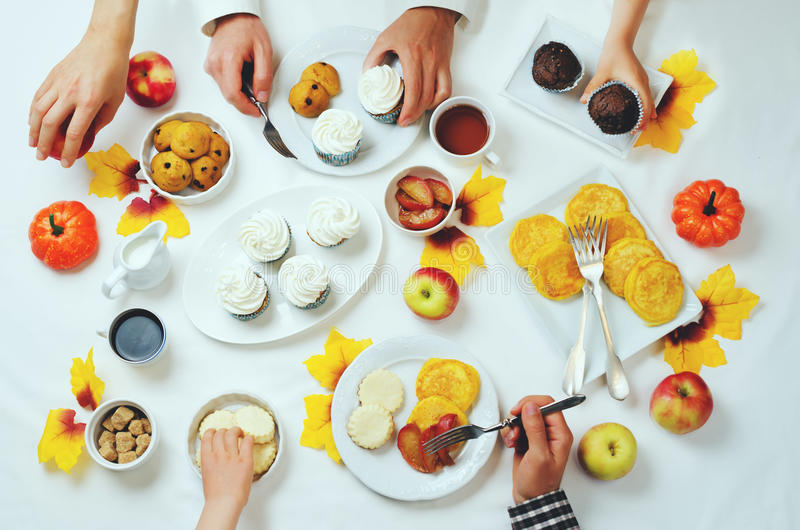 Autumn sweets and baking celebration family concept royalty free stock images