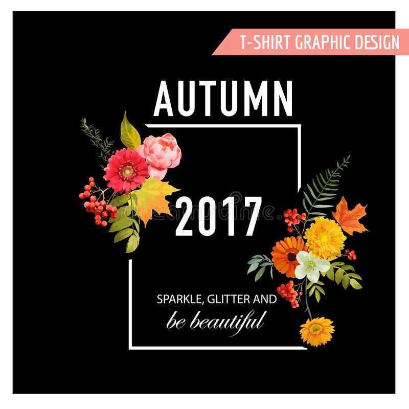 Autumn T-shirt Floral Design with Maple Leaves and Flowers. Fall Background. In Vector royalty free illustration
