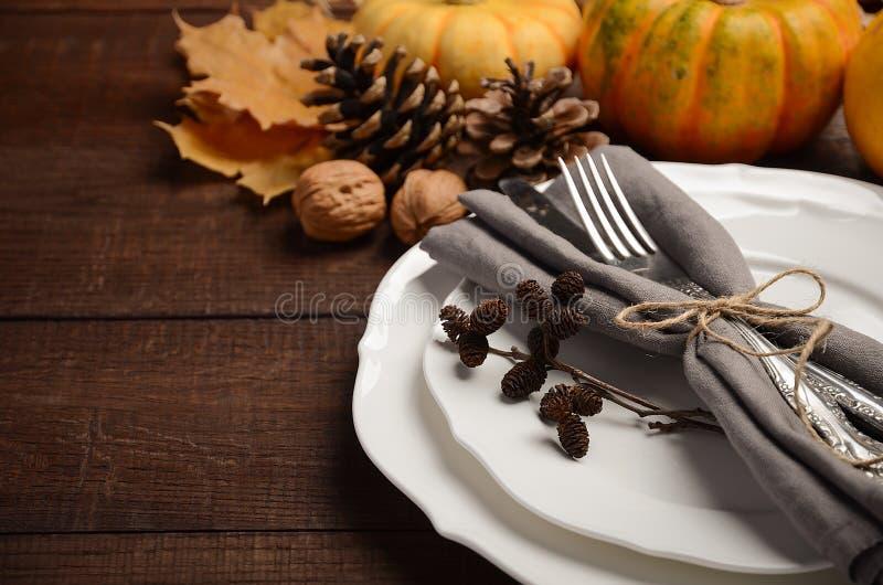 Autumn Table Setting imagem de stock