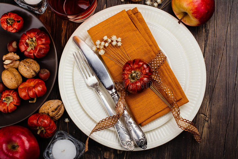 Autumn table setting. Copy space. Flat lay style. Toned image royalty free stock photo