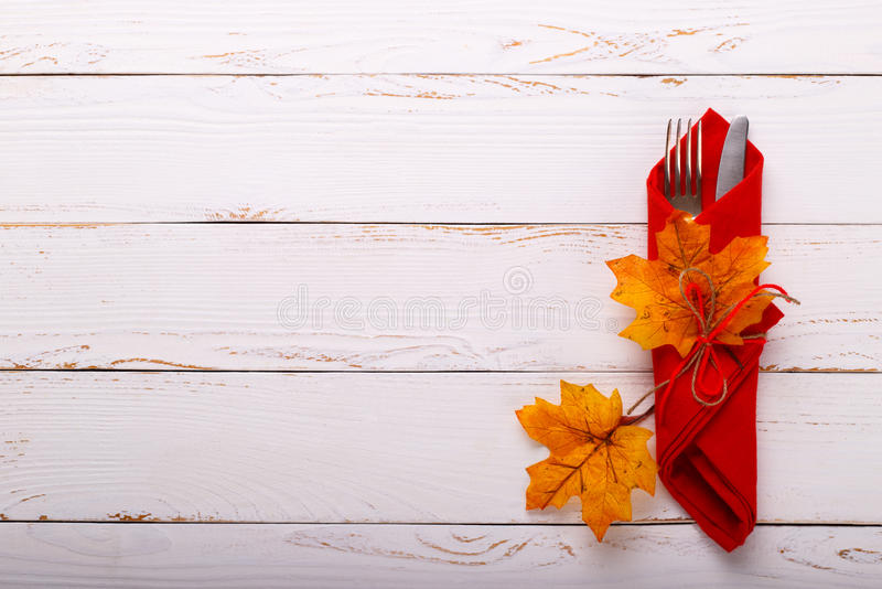 Autumn table setting. On old white wooden table. Thanksgiving card template stock image
