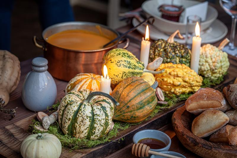 Autumn table setting with pumpkins. royalty free stock photos