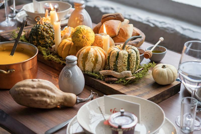 Download Autumn Table Setting With Pumpkins. Thanksgiving Dinner And Fall Decoration. Stock Photo - & Autumn Table Setting With Pumpkins. Thanksgiving Dinner And Fall ...