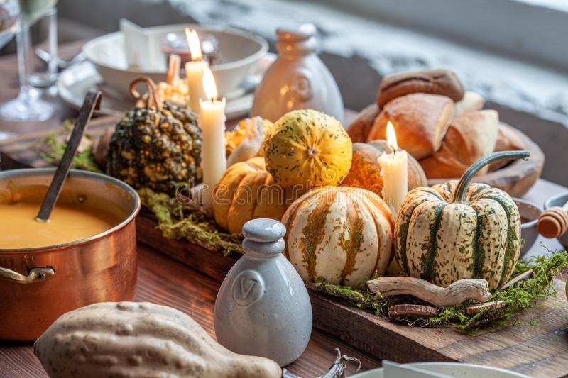 Autumn table setting with pumpkins. royalty free stock photography