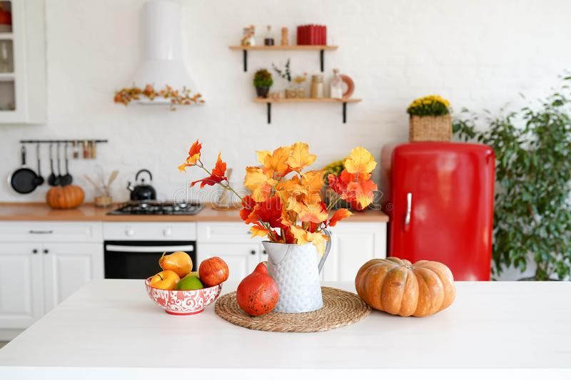 Autumn table with vegetables in kitchen. red and yellow leaves in the vase and pumpkin on white background royalty free stock image
