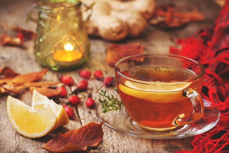 Autumn tea with ginger, lemon stock image