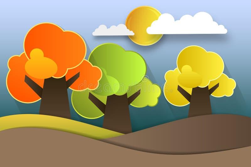 Autumnal holiday design for fall season festival invitation, greeting card, paper cut style, vector illustration stock illustration