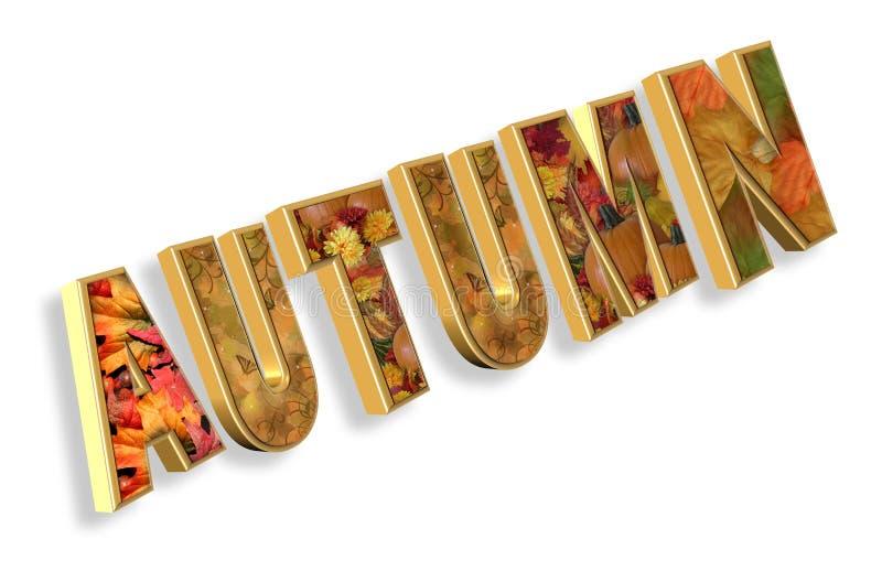 Autumn text 3D stock photography