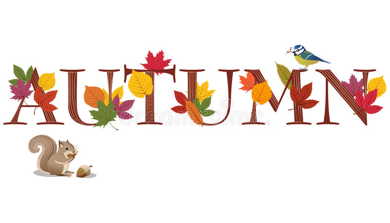 AUTUMN text decorated with leaves, blue bird and s vector illustration