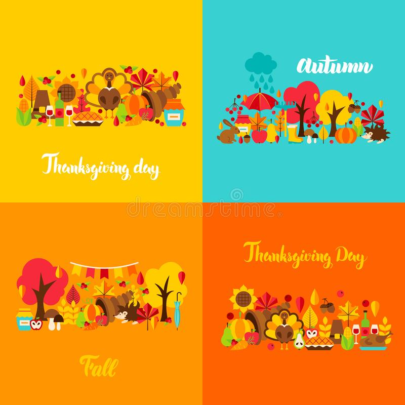 Autumn Thanksgiving Concept Set vektor abbildung