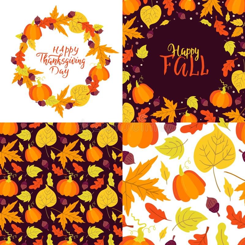 Autumn and Thanksgiving day greeting cards and seamless patterns set. Vector set of greeting cards and seamless patterns. Autumn and Thanksgiving day. Perfect stock illustration