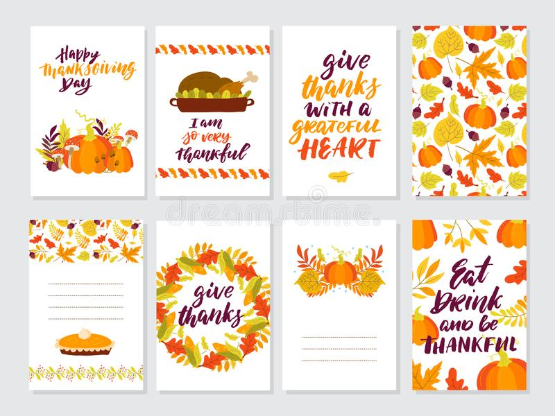 Autumn and Thanksgiving day set of greeting cards vector illustration