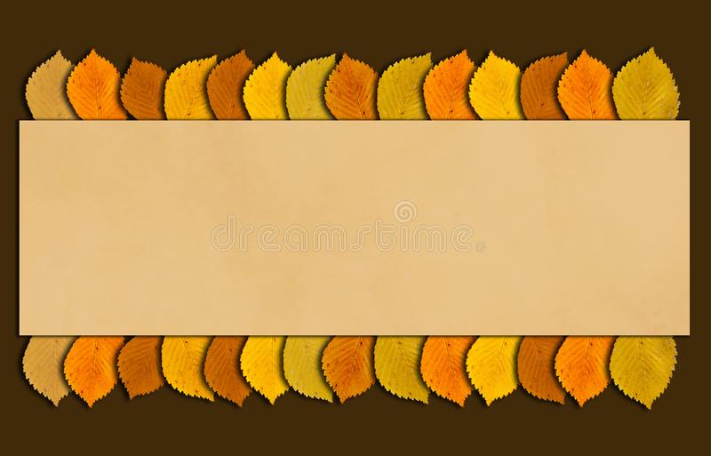 Autumn and thanksgiving frame with autumn colored leaves. Fall time background with copy space for your text. Autumn or thanksgiving frame with autumn colored stock illustration