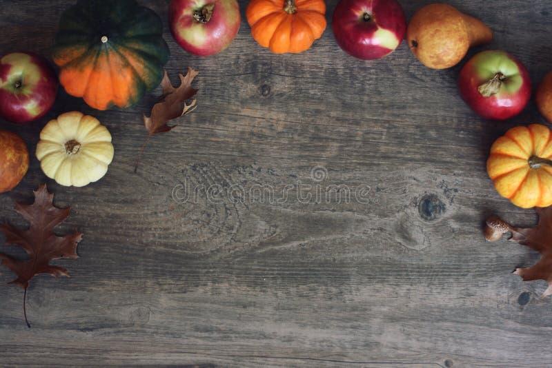 Autumn Thanksgiving Harvest Background com maçãs, abóboras, peras, folhas, polpa de bolota e beira da porca sobre a madeira, tiro imagem de stock