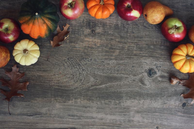 Autumn Thanksgiving Harvest Background met direct Appelen, Pompoenen, Peren, Bladeren, Eikelpompoen en Nootgrens over Hout, Schot stock afbeelding