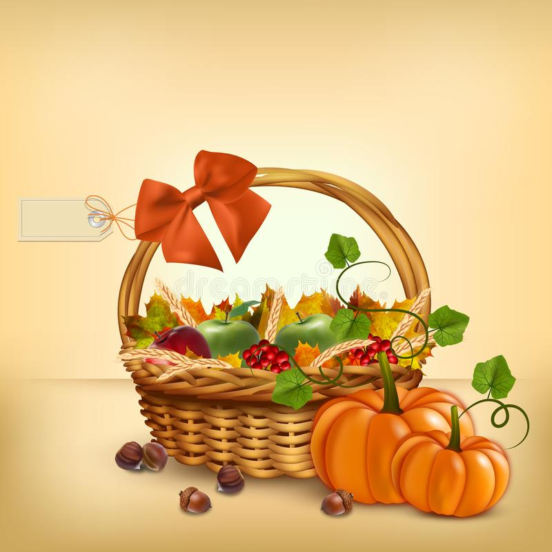 Autumn Thanksgiving-Korb Vektor lizenzfreie abbildung