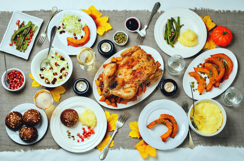 Autumn Thanksgiving main dish table setting royalty free stock images