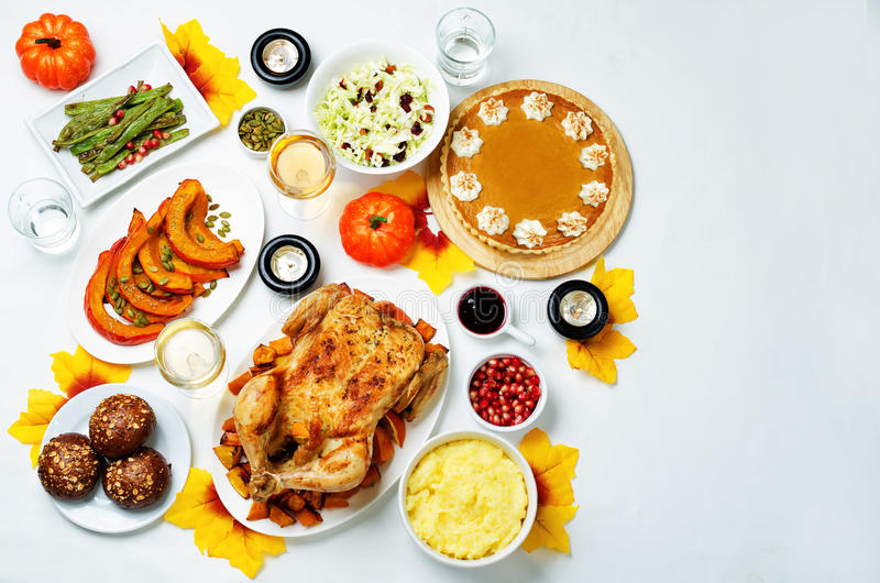 Autumn Thanksgiving main dish table setting royalty free stock photos