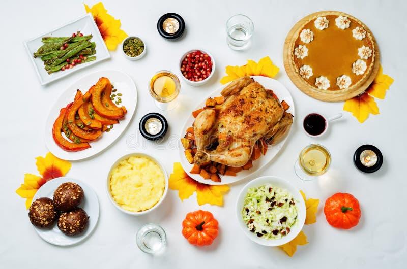 Autumn Thanksgiving main dish table setting stock photo