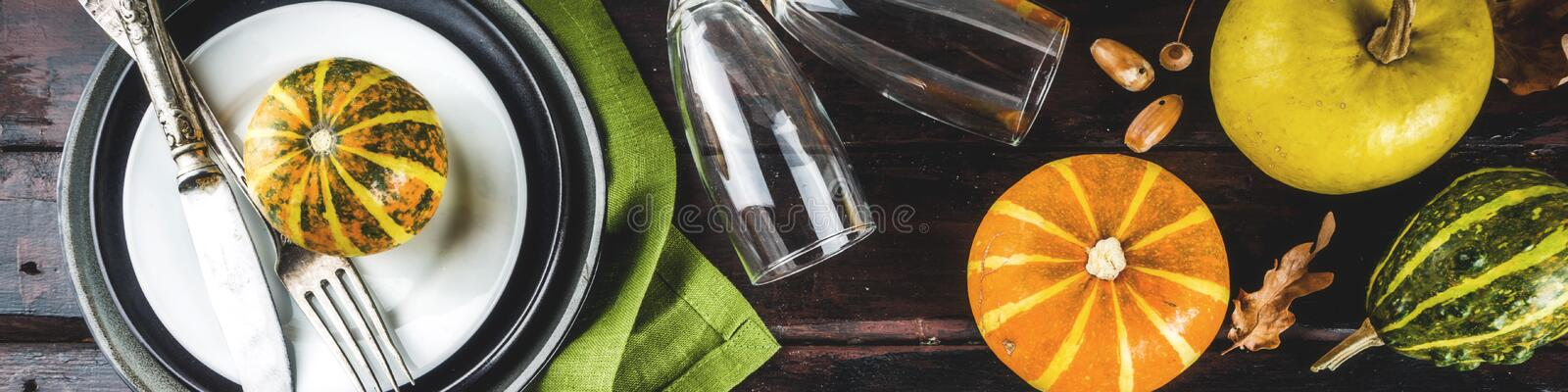 Autumn and thanksgiving table setting royalty free stock image