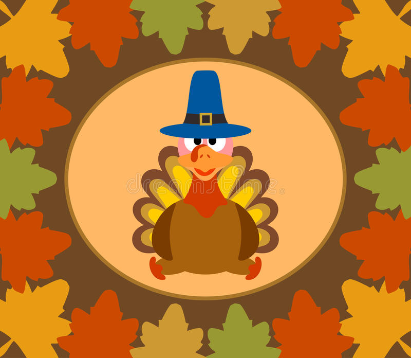 Autumn Thanksgiving-Tageshintergrund mit Truthahn stock abbildung