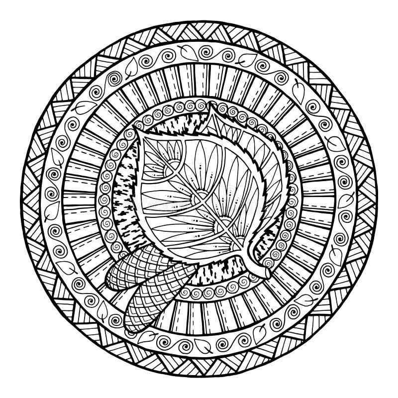 Free Autumn Theme. Circle Tribal Doodle Ornament. Hand Drawn Birch Leaf Art Mandala. Stock Photos - 74692743