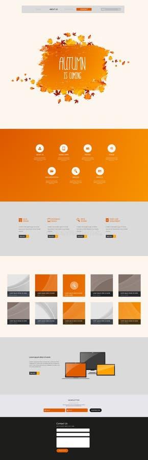 Autumn Theme Website Template: Één Stijl van het Pagina Vlakke Ontwerp royalty-vrije illustratie