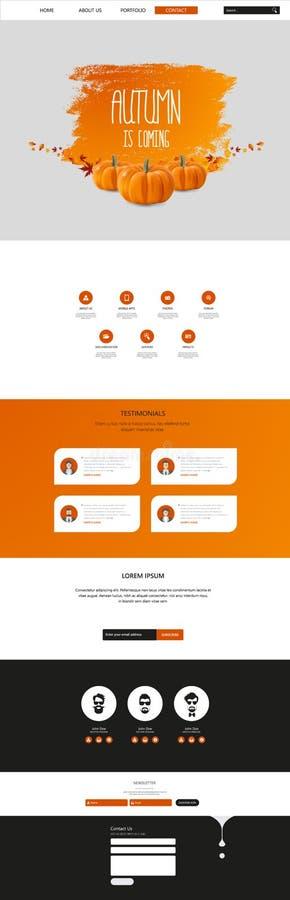 Autumn Theme Website Template: Één Stijl van het Pagina Vlakke Ontwerp stock illustratie