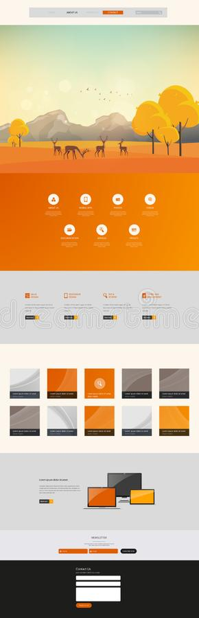 Autumn Theme Website Template: One Page Flat Design Style vector illustration