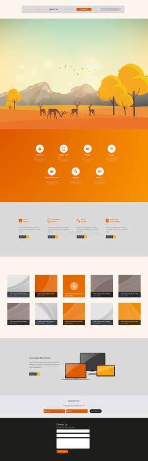 Autumn Theme Website Template: Um estilo liso do projeto da página ilustração do vetor