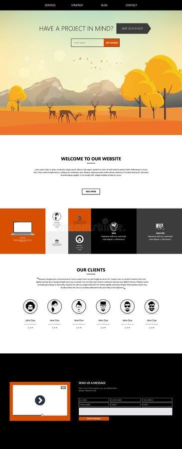 Autumn Theme Website Template: Um estilo liso do projeto da página ilustração royalty free