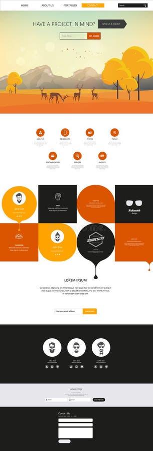 Autumn Theme Website Template: Um estilo liso do projeto da página ilustração stock