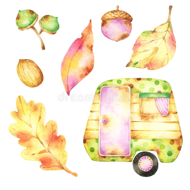 Ready to use set of watercolor clip art including festive cartoon style tall green and yellow polka dot caravan, autumn leaves, se stock illustration