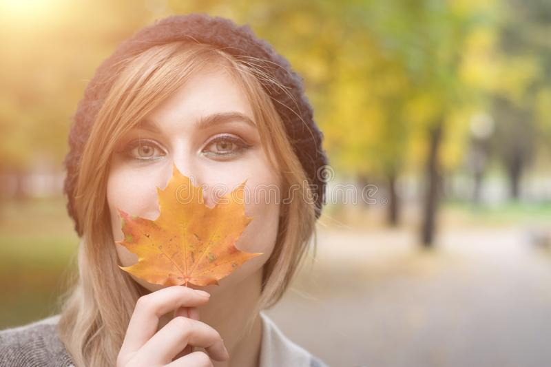 Autumn time abstract, portrait young woman stock images