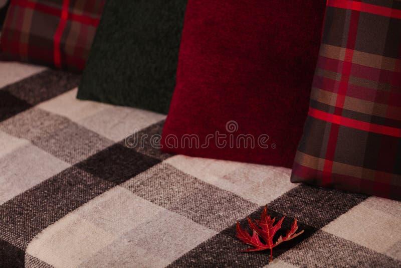 Autumn Time Comfort en warmte in het huis Comfortabele hoofdkussens op Th royalty-vrije stock afbeelding
