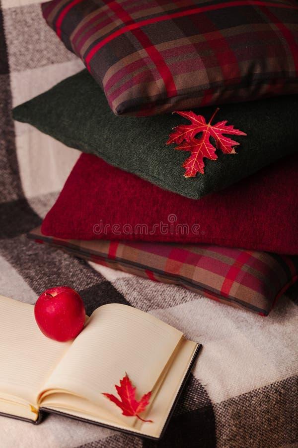 Autumn Time Comfort en warmte in het huis Comfortabele hoofdkussens op Th royalty-vrije stock foto