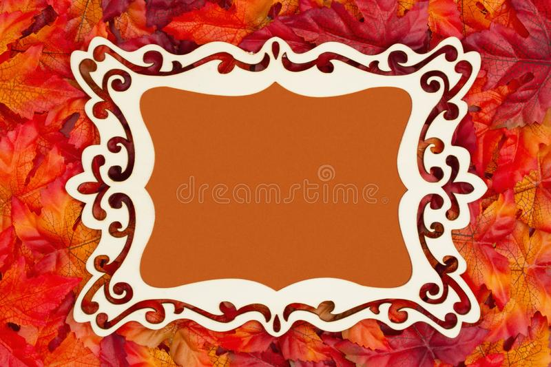 Autumn time with fancy wood frame and fall leaves. With copy space for your message stock images