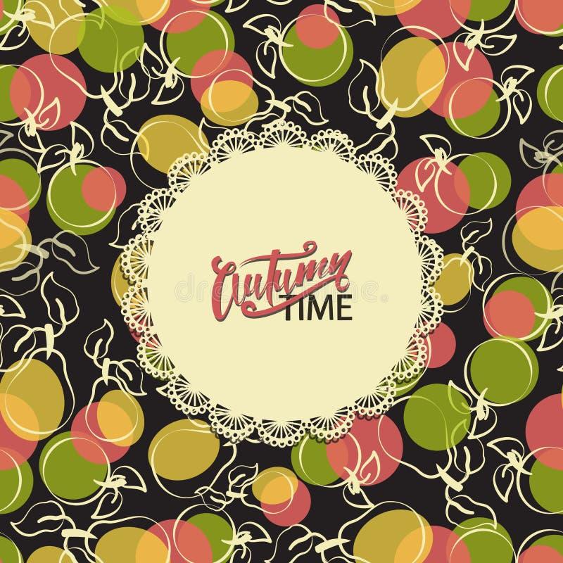 Autumn Time Inscrição em um tabela-guardanapo e em um fundo do fruto ilustração stock