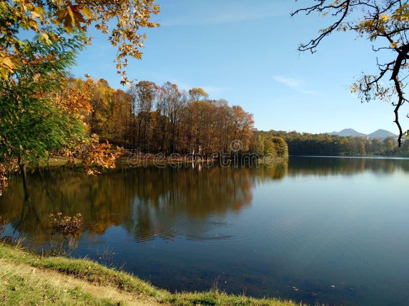 Autumn in Tirana. View of Tirana artificial lake in autumn, Albania royalty free stock photography