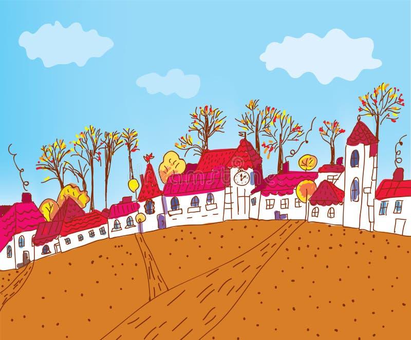 Autumn town sketch cartoon royalty free illustration