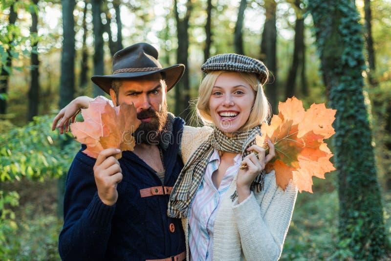 Autumn travels. Autumn fashion portrait of couple with autumnal mood. Romantic couple. Outdoor Autumn atmospheric stock image