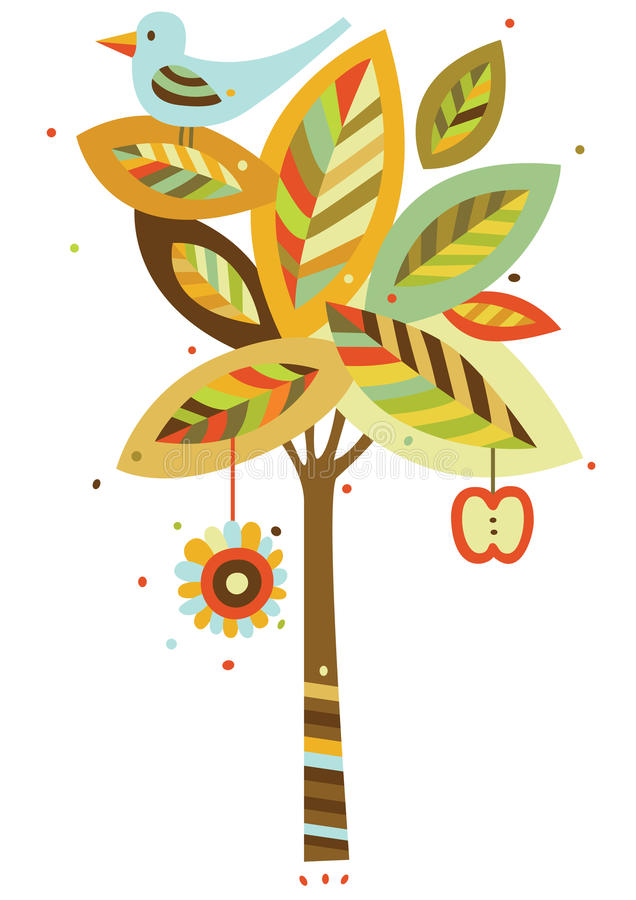 Autumn Tree. Vector illustration of a tree and bird in fall colors