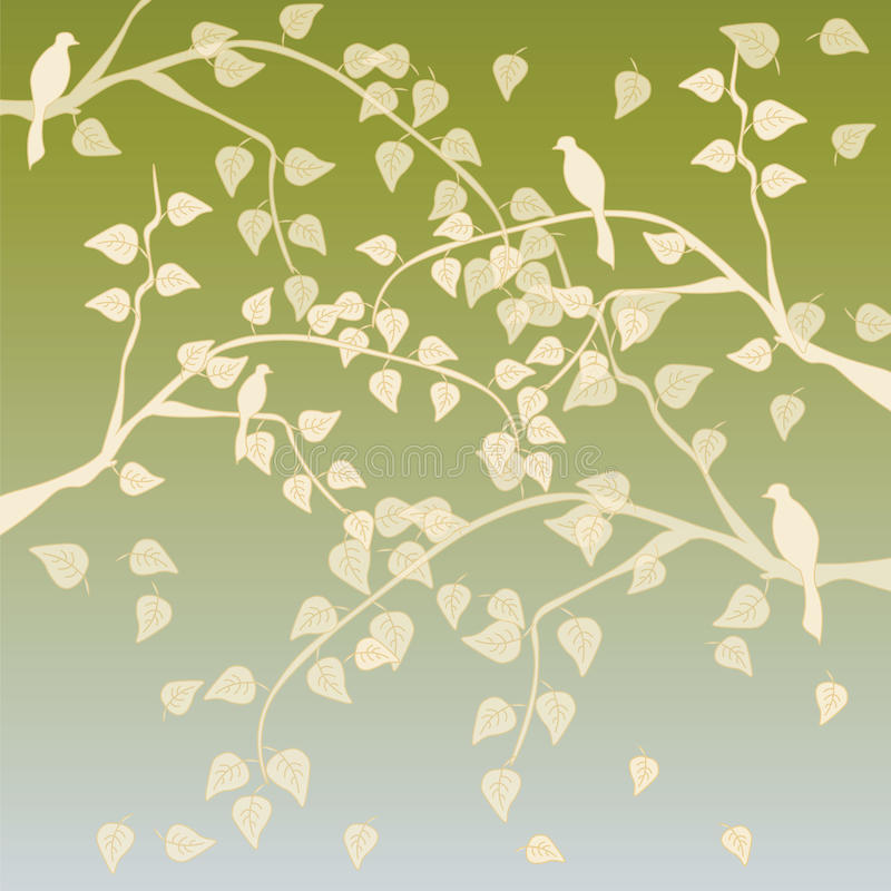 Autumn tree background. Autumn tree with leaves background. Vector illustration royalty free illustration