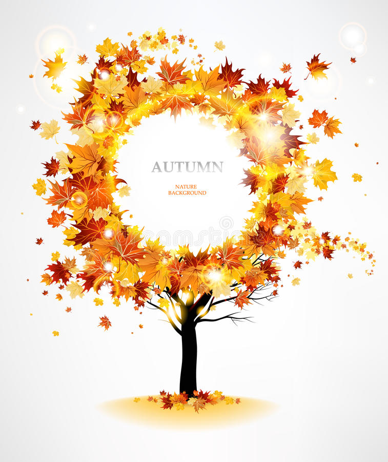 Autumn tree with beautiful flying leaves stock illustration