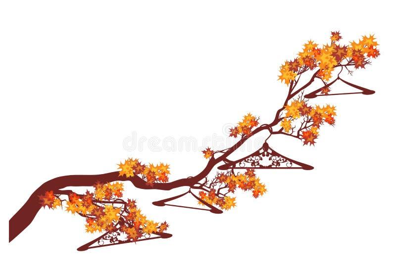 Autumn season clothing sale with empty hangers on maple branch vector design vector illustration