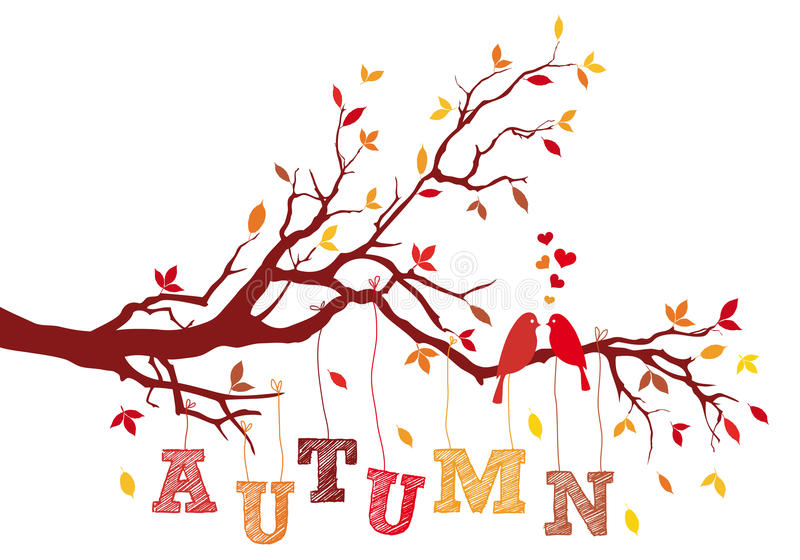 Autumn tree branch, vector royalty free illustration