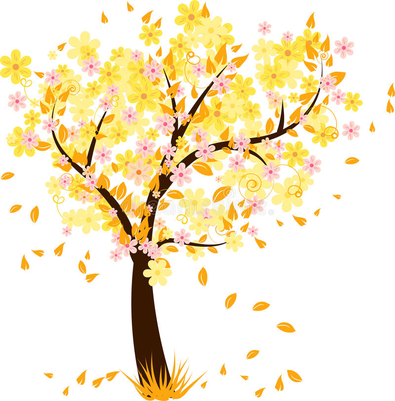 Download Autumn Tree With Falling Leaves Stock Vector - Illustration of design, leaf: 10706252